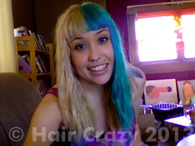 And hair turquoise blonde Manic Panic