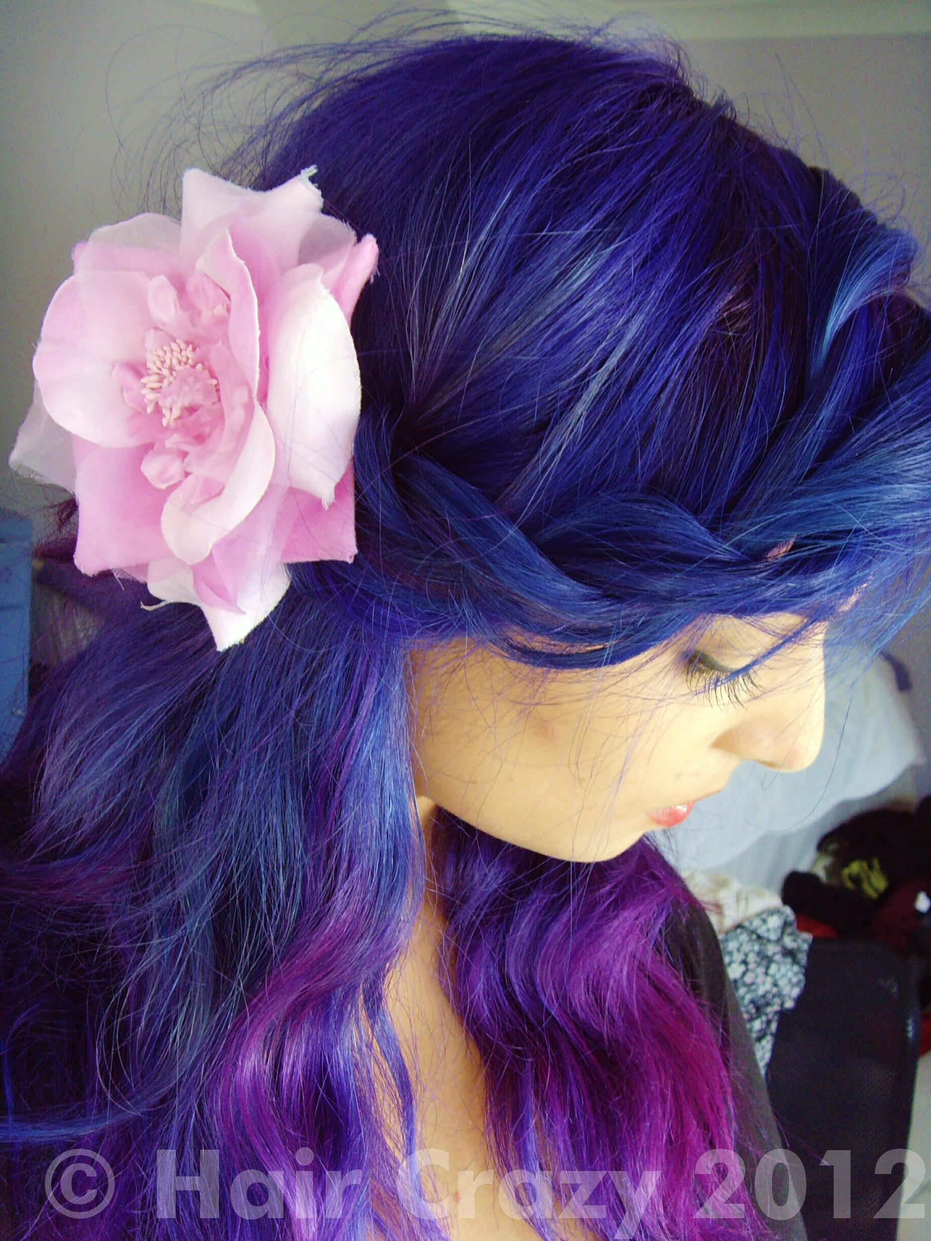 Blue Ombre to Blue Purple Bluish Purple Hair