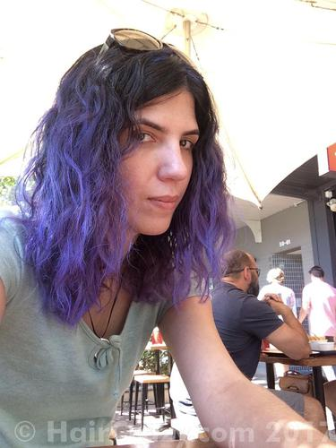 Ultra Violet. It is too intense for me I think. I'm hungover as hell in this pic, but I don't think it'd be flattering even if I wasn't