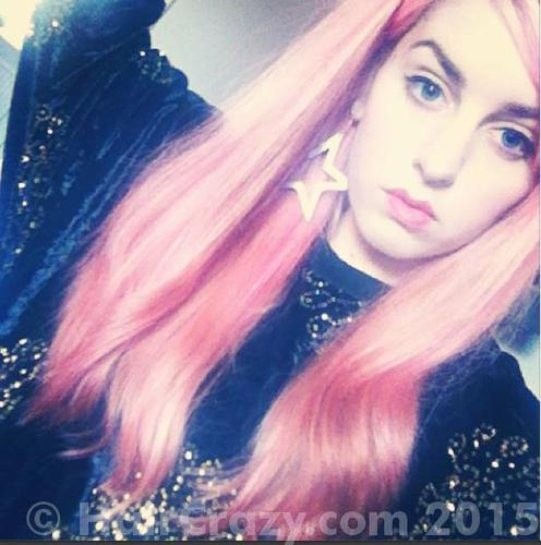Pink hair and midlength a couple of years ago
