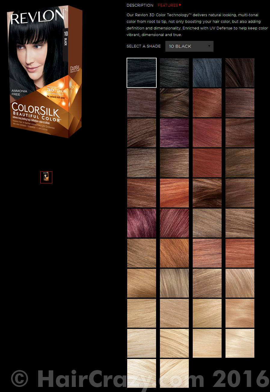 revlon colorsilk hair color chart