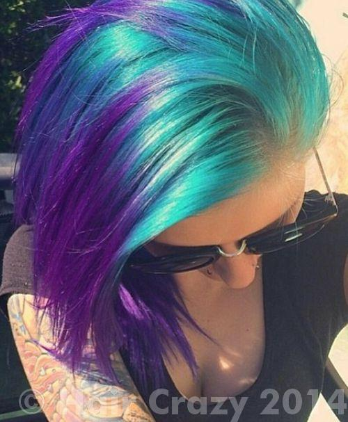 Blonde hair with purple and blue tips