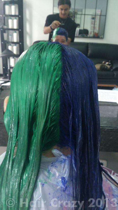 Marta using Directions Apple Green, Special Effects Electric Blue - 2nd July 2013 9:30 a.m.