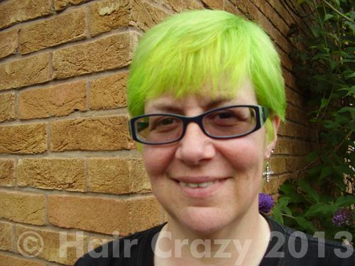 JayCee using Crazy Color Emerald Green, Directions Fluorescent Glow - 4th August 2013 2:43 p.m.