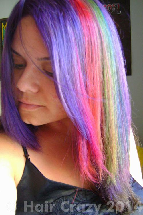 Zoe_nwobhm using Adore Purple Rage, Directions Fluorescent Glow, Directions Rose Red, Pravana Blue, Pravana Violet, Special Effects Nuclear Red - 20th August 2014 3 p.m.