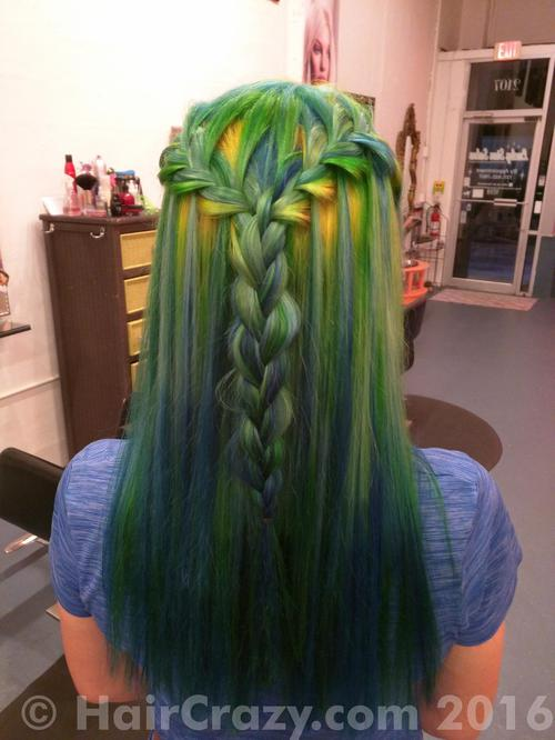 spoonyspork using Adore Electric Lime, Pravana Locked-In Blue, Pravana Locked-In Teal, Pravana Locked-In Yellow - 5th October 2016 4:20 a.m.
