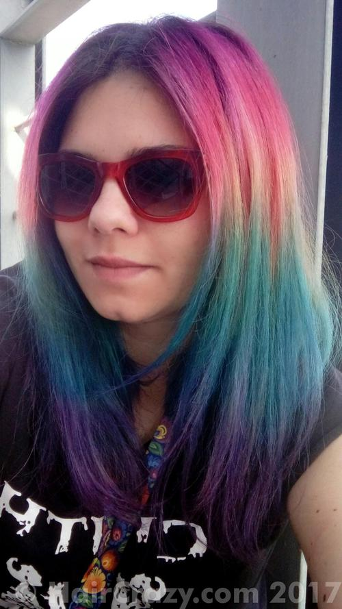 Zoe_nwobhm using Adore Aquamarine, Adore Purple Rage, Arctic Fox - Posieden, Directions Fluorescent Glow, Directions Midnight Blue, Directions Rose Red, Pravana Red - 25th May 2017 7:26 a.m.