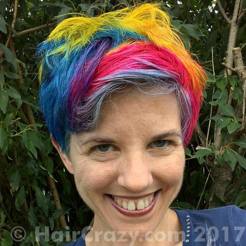 NLeigh using Brite Yellow, Directions Dark Tulip, Manic Panic After Midnight Blue, Plum (Punky), Special Effects Cherry Bomb - 1st August 2017 4:58 p.m.