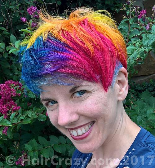 NLeigh using Brite Yellow, Directions Dark Tulip, Manic Panic After Midnight Blue, Plum (Punky), Special Effects Cherry Bomb - 1st August 2017 10:37 a.m.