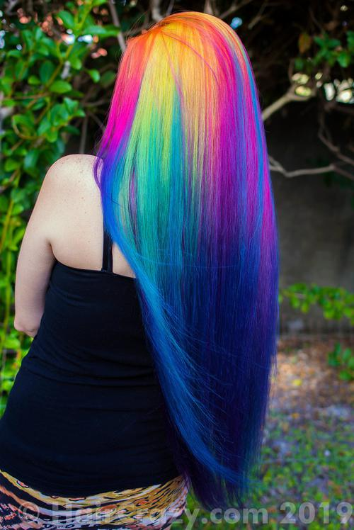 lizzy using Manic Panic Atomic Turquoise, Manic Panic Electric Banana, Manic Panic Electric Lizard, Manic Panic Hot Hot Pink, Pravana Violet, Sky Blue (Ion Color Brilliance), Special Effects Atomic Pink - 11th February 2019 3:57 p.m.