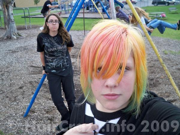 All dyed using kool aid (colors red, orange and green)