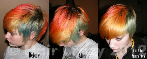 A set of three before and after treatments.