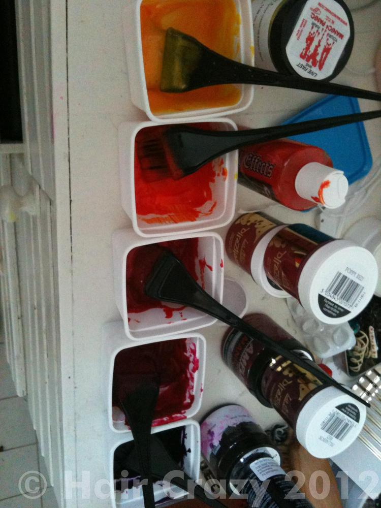 5 containers with 5 different colours and 5 different dyebrushes