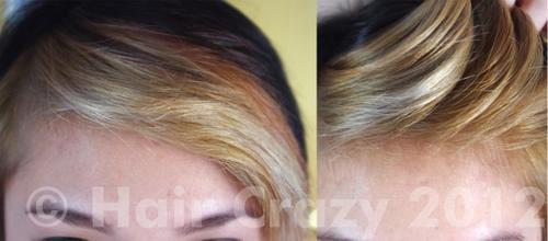 Tip: Adding a drop of blue/purple dye to your conditioner will tone down the golden shades after bleaching