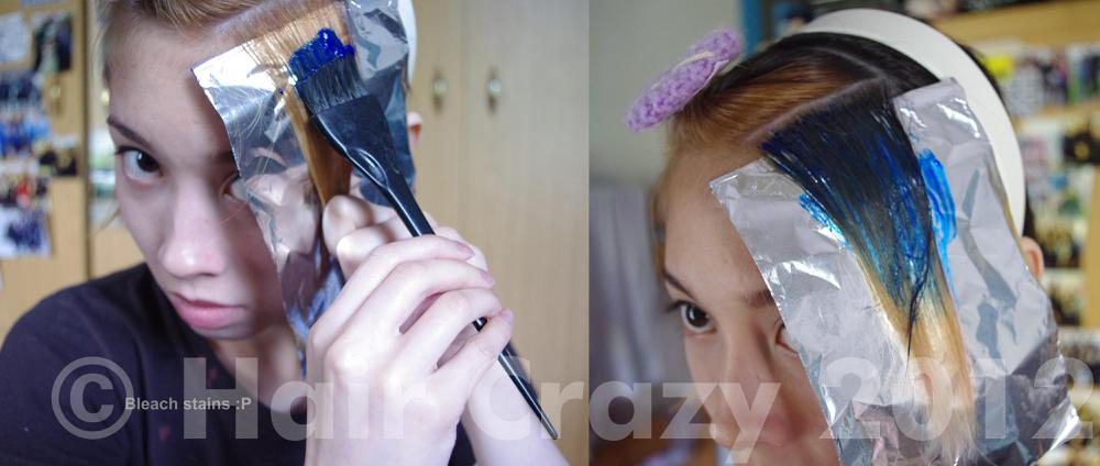 Apply to the whole top part of the hair, this will help the hair stick to the foil. Oh and, don't forget to wear an old t-shirt things could get messy haha