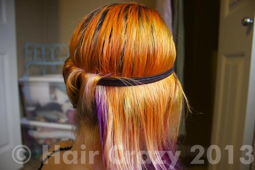 Repeat this step with each strand of hair until you reach the middle of the back of your head and stop. It should look like the picture.