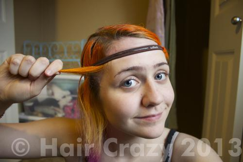 Start with the first strand of hair on the side of your choice. I personally always start on the right side, but it doesn't really matter. Take a strand about a centimetre to an inch wide and wrap it once around the headband.