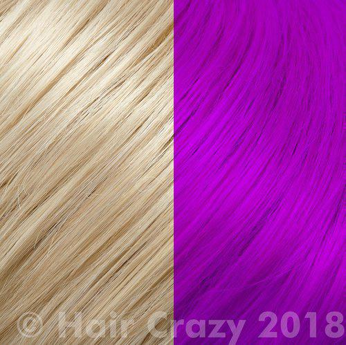 Bright colours look best when applied to light blonde hair.
